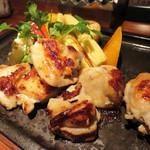 プランチャ - 若鶏の桜塩こうじ 鉄板焼き 春の焼き野菜添え。