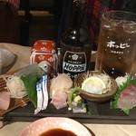 男魚魚 - 黒ホッピーセット と お刺身盛り合わせ