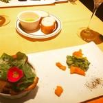 スタジオーネ フルッティフィカーレ - 2017.03生ハムとモッツァレラのパクチークレスペッレ アボカドとマンゴーのディップを添えて