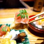 嗜季 - 肉厚椎茸の旨味×生ハムの旨味、天ぷらの油がコクを増幅させる