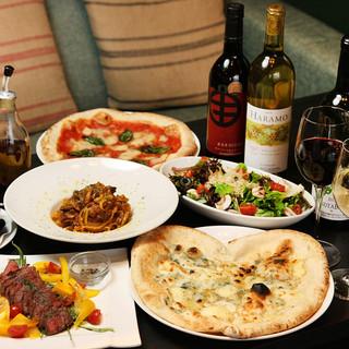 釜焼きピッツァはもちろん本格イタリアンで最高の宴を!