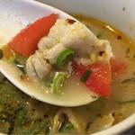 味の彩華 - 《ほうれん草とトマトのつけ麺》のつけ汁は酸味がある野菜スープのよう       2017/3/24