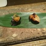 かわ村 - 赤貝の握りゾット&本ミルと雲丹の握りゾット