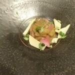 かわ村 - 黒毛和牛イチボ肉のタリアータ ふきと米麹とマデラ酒のソース