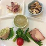 64399097 - 前菜、クラゲ、タコマリネ、クラゲ皮、蒸し鶏