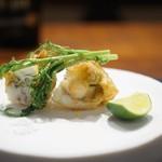 傳 - ふきのとうと白身魚すり身の揚げ物 水菜の菜の花