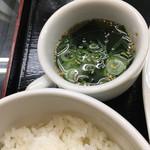 一楽亭 - 御飯とスープ。