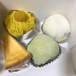 菓子工房 ワタナベ - 料理写真:モンブラン、チーズケーキ、苺生大福、大納言生大福