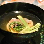 ことわりをはかるみせ ばんどう - 料理写真:山菜とパルマハム、豆乳チーズ、鰹だしのお椀