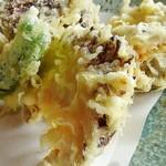 蕎麦処 多賀 - 天ぷらはサクサクで衣が薄いです。