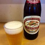 釜揚うどん一紀 - 「瓶ビール」(500円税込)。アサヒかキリンが選べる。昭和なオヤジは断然キリン。