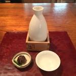 Namikiyabusoba - 樽酒(熱燗)とそばみそ