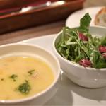 Kofuji Shokudou - ランチのスープ、サラダ、パン