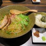 天雷軒 九段下 - 琥珀醤油拉麺+琥珀茶漬け用ご飯