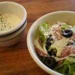 64479137 - ランチセットのスープとサラダ