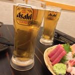 個室居酒屋 時しらず - 時しらず(埼玉県さいたま市大宮区大門町)生ビール・刺身5種