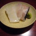 竹亭にしき - 刺身3種(鰆、鱸、赤烏賊)