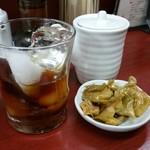 玉蘭 - 紹興酒 550円。常温、お燗、ロックのいずれもたのしめます。