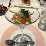 64486226 - ランチAコース前菜【新玉ねぎのブラマンジェとトマトのグラニテ うに添え】