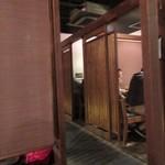 串焼 博多 松介 - 私達は7人でしたが使わせていただいた席は堀ごたつ式で個室感覚の部屋でした。  料理は幹事の方が飲み物も入れて5000円で仕切ってくれました。