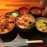 千力 - 食べくらべセット 海老天丼&かき揚げ丼 1100円