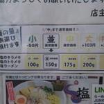 Ramensutairujankusutori - 塩系メニュー麺量案内