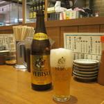 まん天餃子 - ヱビスビール中瓶