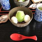 Chaanfuyou - 塩昆布とあたたかい日本茶が付いてきます