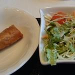 64527019 - パリパリ熱々の揚げ立て春巻き、彩り豊かなサラダ
