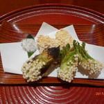 いと正 - 豆腐・椎茸・茄子・たらの芽・かぼちゃの天ぷら