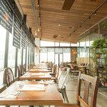 ステーションカフェ バーゼル - ガラス張りの店内は、日差しの光で開放的な雰囲気です。