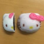 塩瀬総本家 - ハローキティ饅頭 ¥324(本体¥300) 2017/03/18(土)頂き物 右)ピンク 左)白
