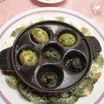 レ・クリスタリーヌ - 温かい前菜(エスカルゴとマッシュルームのオーブン焼きブルゴーニュ風)
