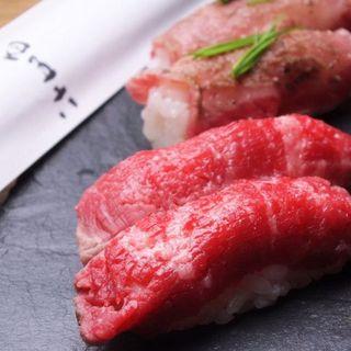 《噂の肉寿司が大人気!》低温加熱処理した新感覚の焼肉