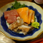 楽酒楽肴 越冬 - 泉タコの入った造り盛り