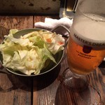 二代目こっこのすけ - 生ビールとお通しの生野菜