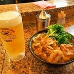 南海そば - 生ビール & 鶏なんばうどん