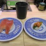 無添くら寿司 - ウニ(1貫)、熟成マグロ