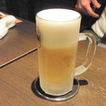 鉄板焼くわちゃん - キンキンに冷えたグラスにビールが最高!