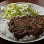 ひつじcafe - ひき肉と枝豆のキーマカレー@950