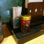 松屋そば店 - 八幡屋の七味唐辛子