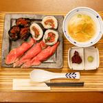 佰食屋肉寿司専科 - 国産牛肉寿司定食1100円+税