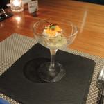 創作料理とワインのお店 上田 慎一郎 - 鳥取大仙の無農薬自然薯の自家製豆腐  山芋とオクラ、こだわり卵の卵白のソース キンカンを添えて