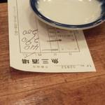 魚三酒場 - 伝票 重しは醤油皿