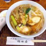 福田屋 - かき南ばんそば(¥1500)。牡蠣の味が濃い! 甘辛いつゆとともに、一個ずつ噛み締めて