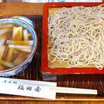 福田屋 - 鴨せいろ(¥1300)。そばの細さと、つゆのふるふる具合が目を引きます