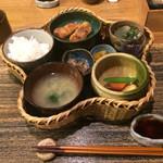 64678595 - 花かご定食:¥1,000、豚のロースカツ和風あんかけ、わけぎ、煮物(大根、人参、サツマイモ、まめ)、魚のブロック煮、香の物、ご飯、味噌汁