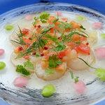 395スパイストウキョウ - 帆立貝のカルパッチョ グレープフルーツとピンクペッパー風味
