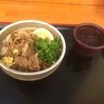 麺処 綿谷 - 肉ぶっかけハーフあつあつ340円