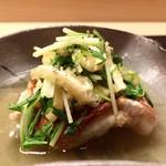64731574 - 北海道 根室 キンキ、厚揚げと水菜の煮浸し